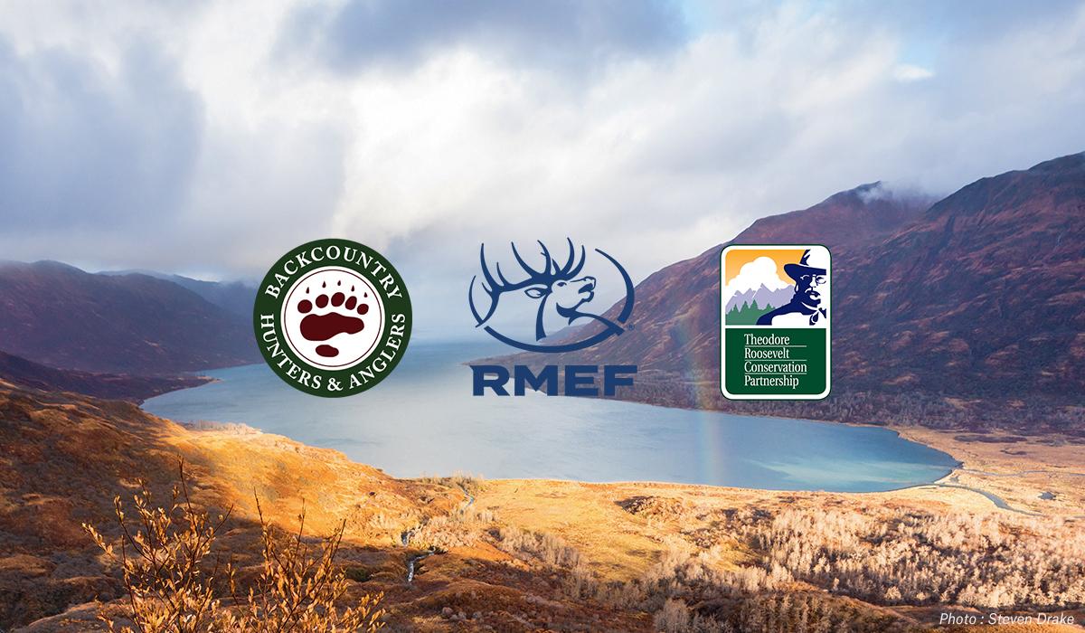 BHA, TRCP, and RMEF logos overlaid on a mountain scene.