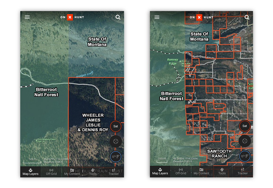 Screenshots of the onX Hunt App showing parts of Montana with public / private land boundaries.