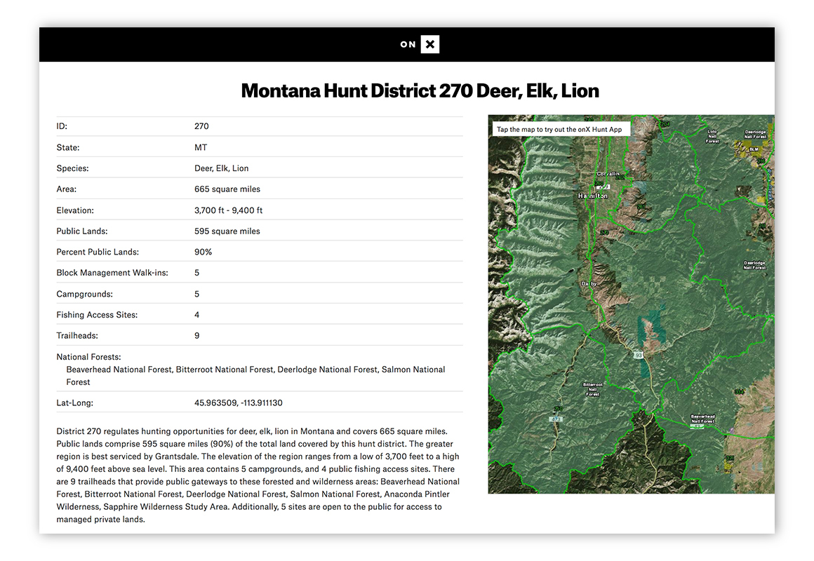 Screenshot image of the Game Management Unit Hub from onX Hunt.