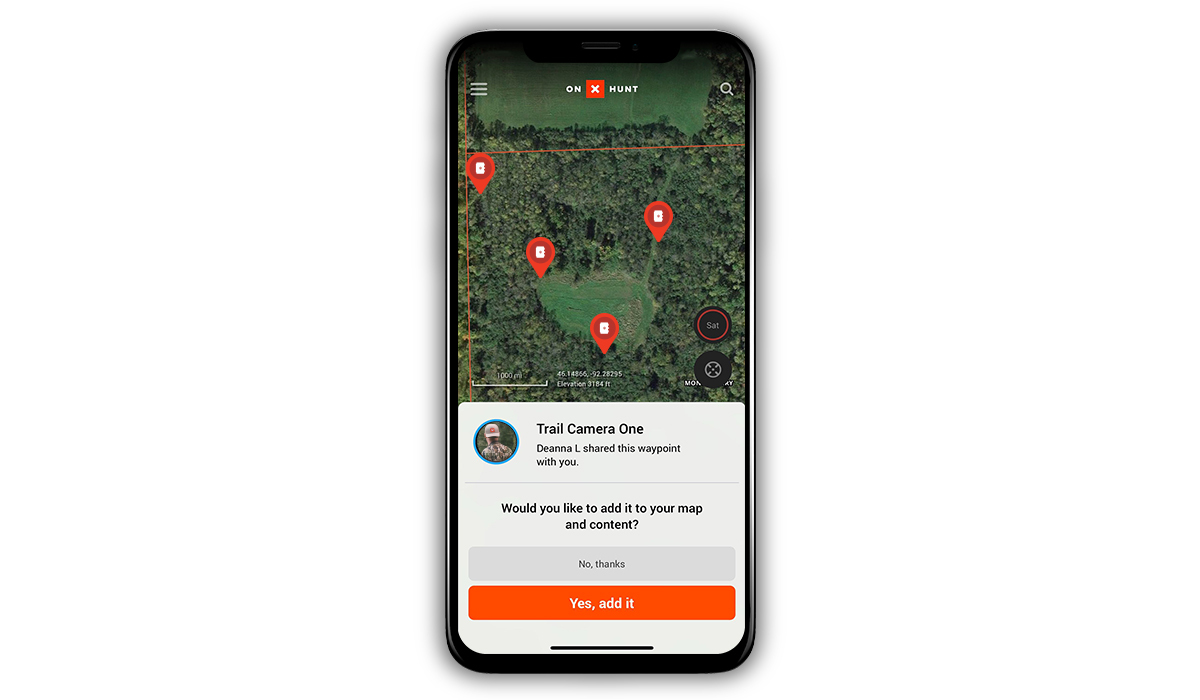 Sharing Waypoints for trail cameras with the onX Hunt App.