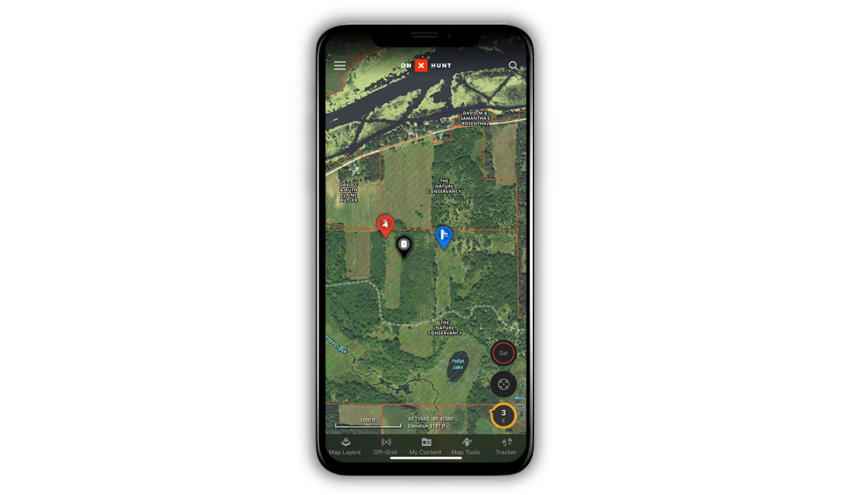 Waypoints placed on an onX Hunt map can show the best places to hunt whitetail deer.