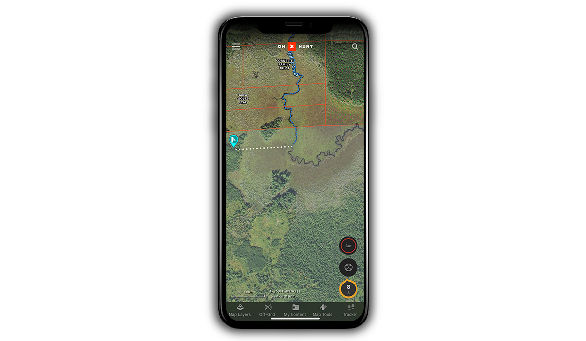 Some land may only be accessible to hunt whitetail via waterways, which can be found using the onX Hunt App.