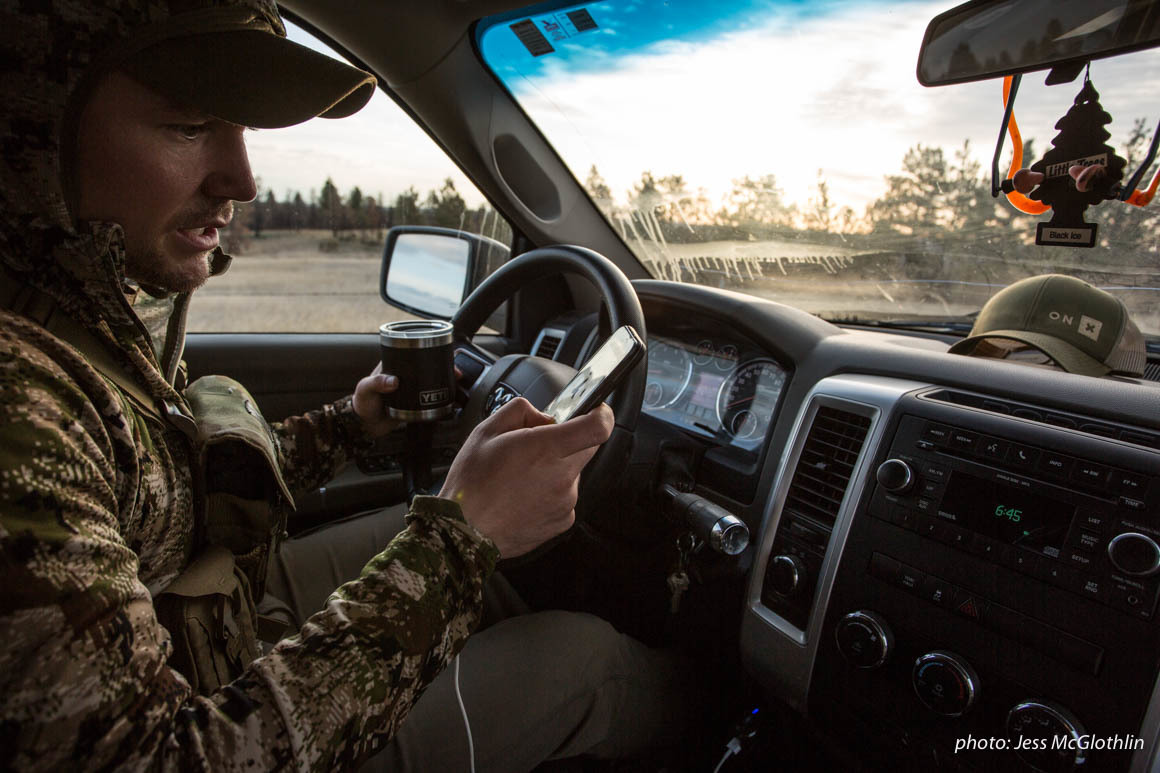 A hunter uses his phone and the onX Hunt App to navigate while hunting spring turkey.