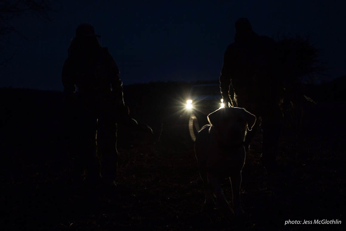 Two hunters walk with a dog in darkness, illuminated by truck headlights.
