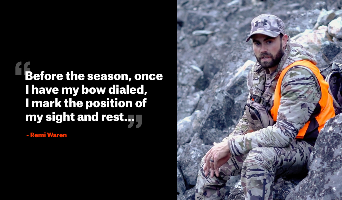 Remi Warren hunting with quote about bow hunting practice.