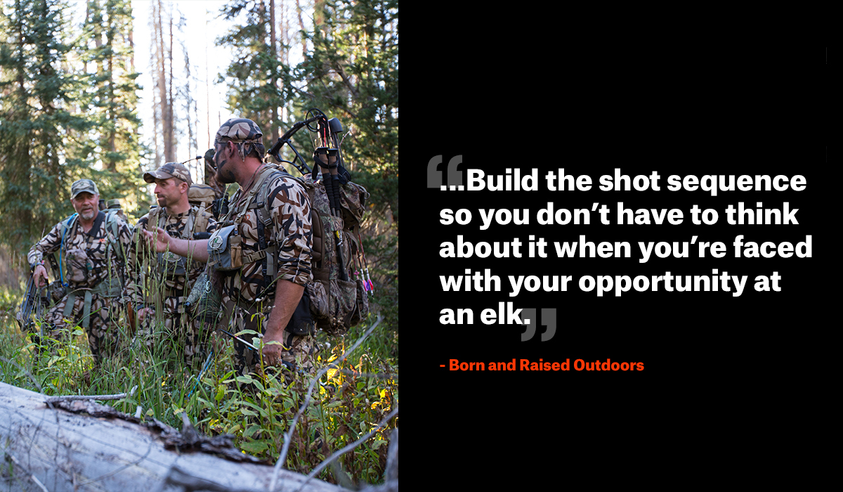 Men bow hunting in the woods with a quote from Born & Raised Outdoors.