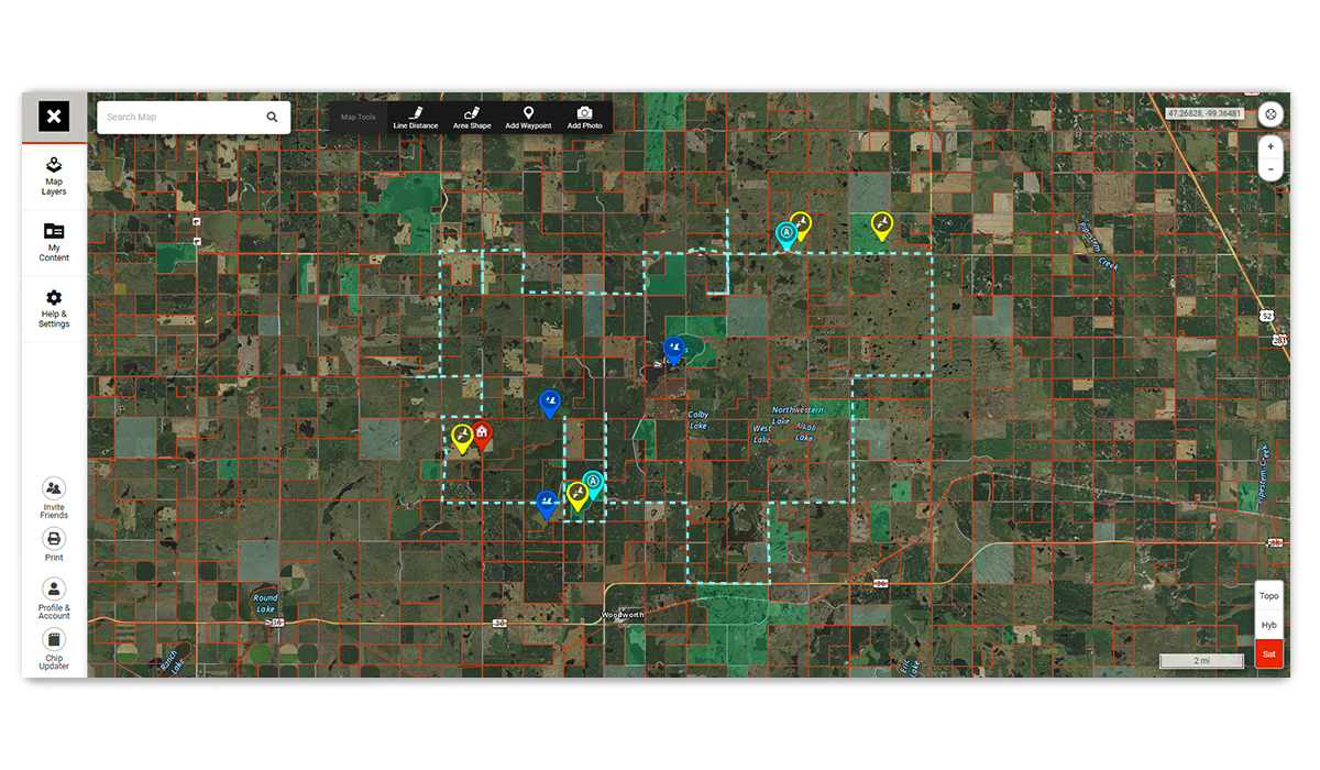 Screenshot of the onX Hunt Web Map, used for scouting and e-scouting before going waterfowl hunting.