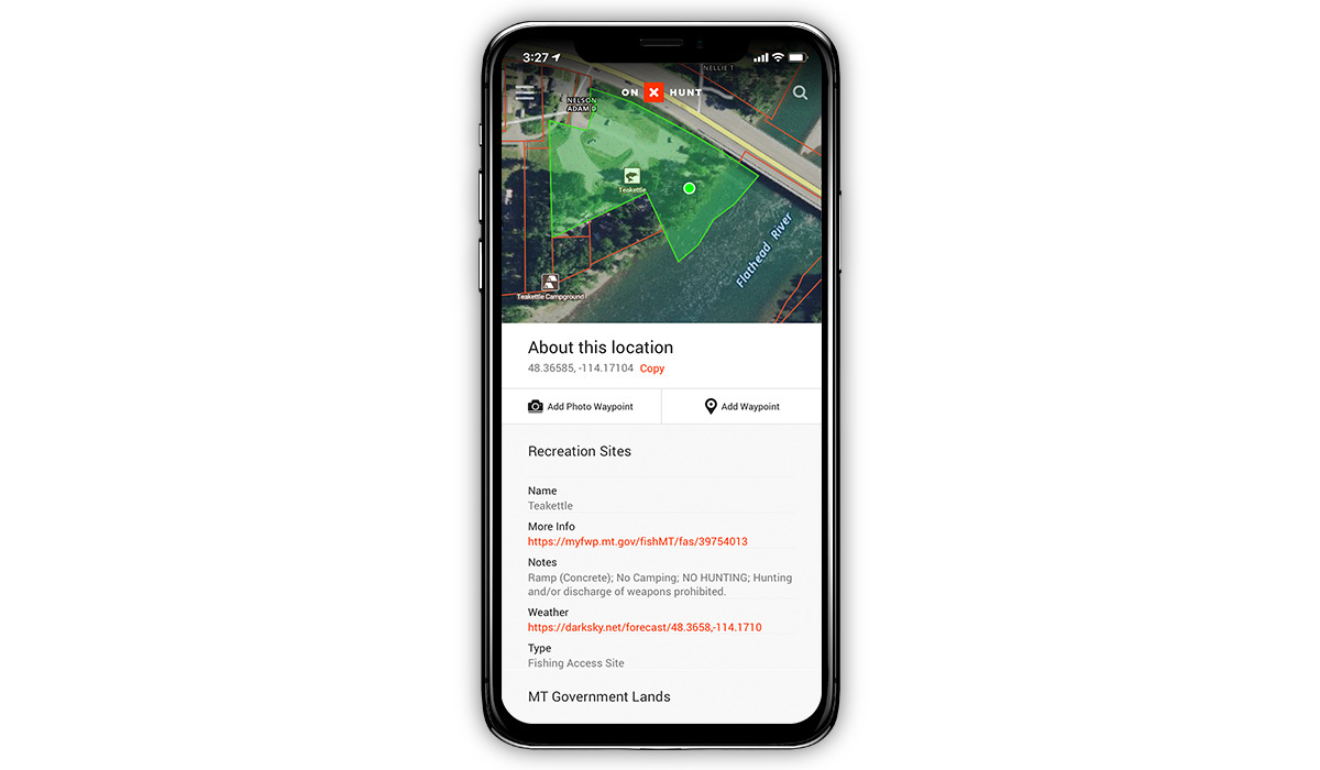 Screenshot of the onX Hunt App showing fishing access points and campgrounds.