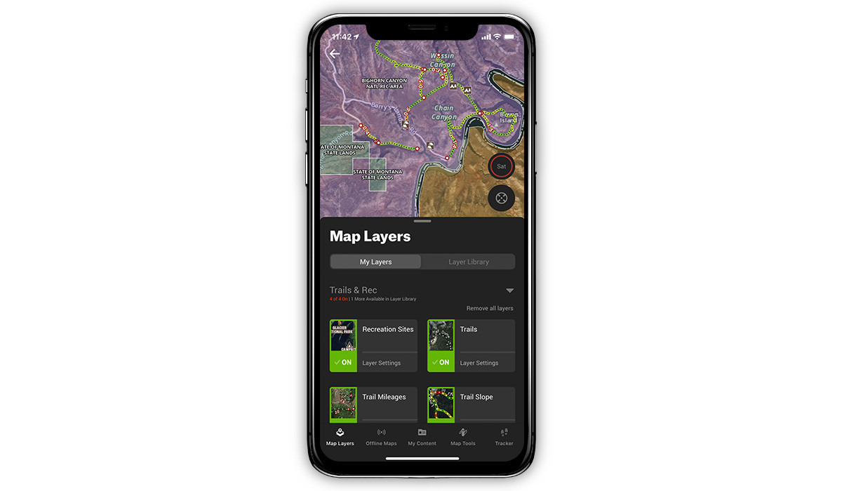 onx Hunt App showing trails features.