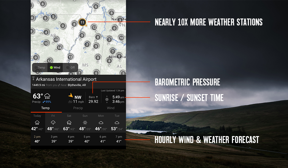 onX Hunt Wind & Weather feature with nearly 10 times the weather stations.