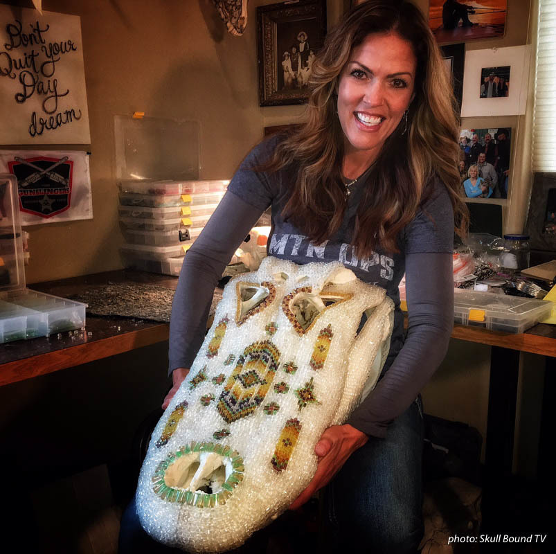 Jana Waller with a crystal decorated animal skull.