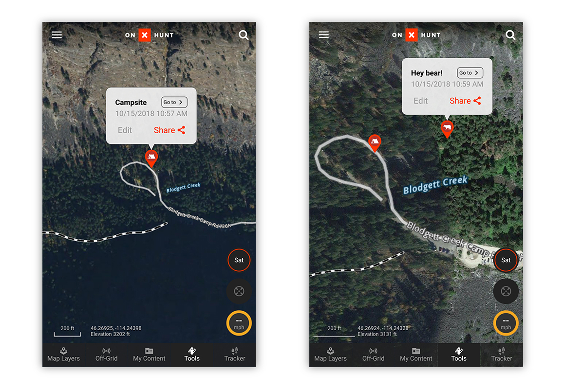 Screenshot examples of saved and shared Waypoints on the onX Hunt App.