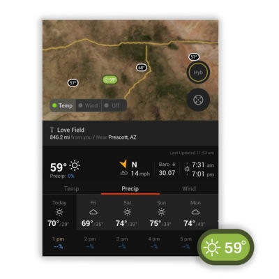 See current conditions, wind speed and direction, barometric pressure, sunrise and sunset times and a seven-day forecast with onX.