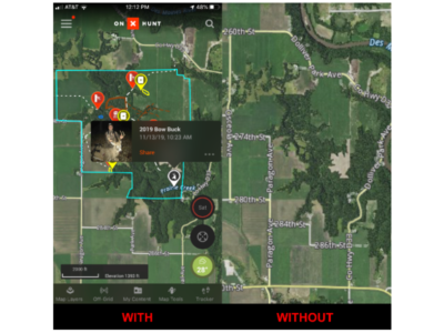 onX maps show clearly-marked property boundaries, public and private landowner names, 421 map overlays and more.