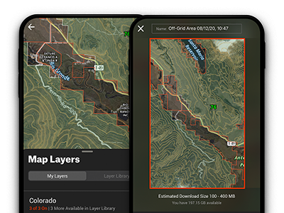 Selecting layers such as public and private boundaries and downloading elk hunting maps for offline use.