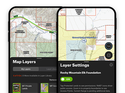 Turning on the Private Lands Layer, Historic Fire Layer, and Roadless Layer in the onX Hunt app designed for elk hunting.