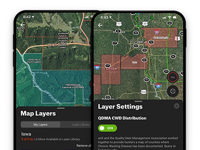 Turning on the Private Lands Layer, GMU Hunting Units Layer, Trails Layer, and the CWD Layer in the onX Hunt Deer Hunting App.