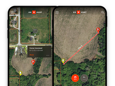 Adding Waypoints and measuring distances with the onX Hunt deer hunting app.