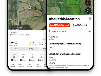 Hunting weather and wind forecasts in the onX Hunt deer hunting app. Tap on a parcel to see who owns it.
