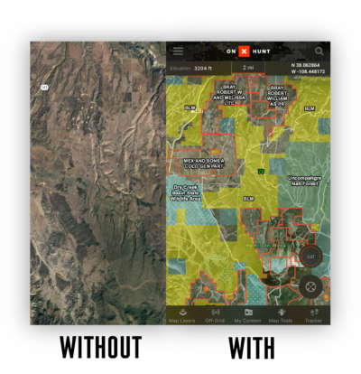 The onX Hunt app lets you hunt with confidence by always knowing where you are with clearly marked private property boundaries.