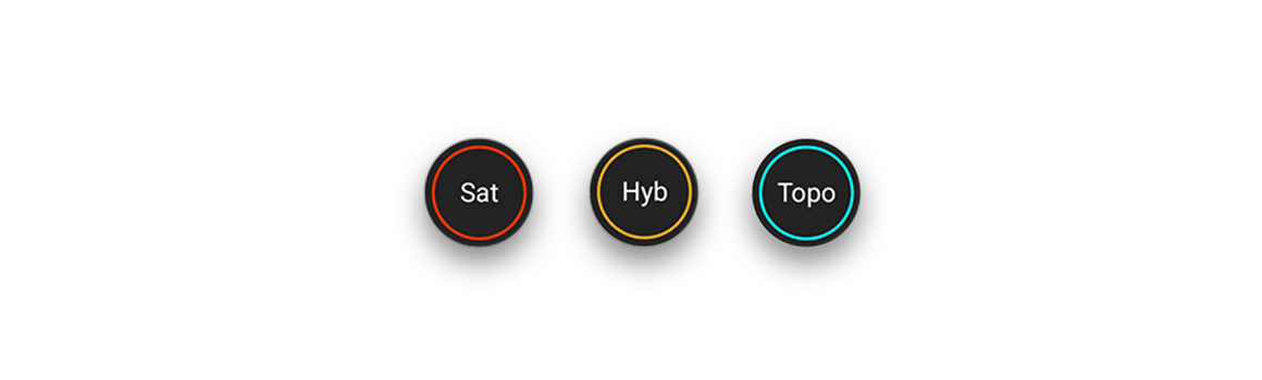onX Basemap aerial, topo and hybrid toggle buttons.