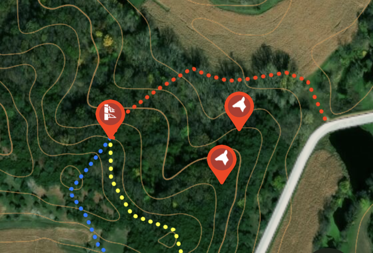 The onX Hunt App can be used to mark tree stand locations, as well as stand entrance and exit strategies, when hunting whitetail deer.