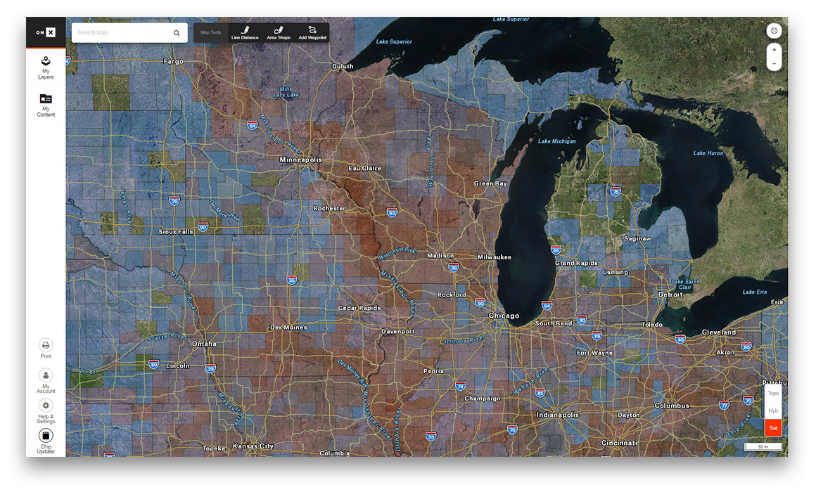 Screenshot of the onX Hunt and Boone & Crockett Layer in the Midwest.