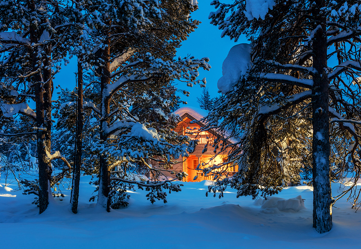 Cabin at night in the winter snow, surrounded by pine trees and forest.