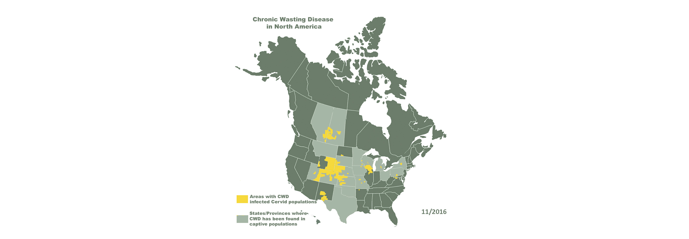 Map depicting where CWD is present in North America