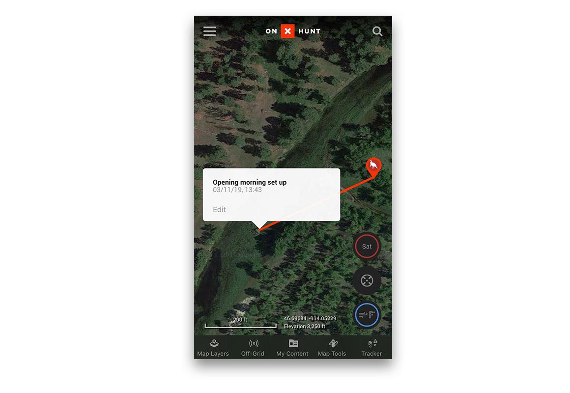 onX Hunt App screenshot of the distance tool.