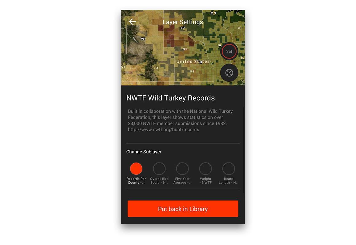 onX Hunt App National Wild Turkey Federation Layer screenshot.