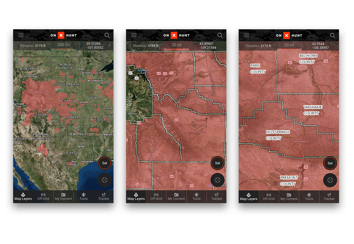 Screenshot of the onX Quality Deer Management Association / Chronic Wasting Disease Hunt App layer.