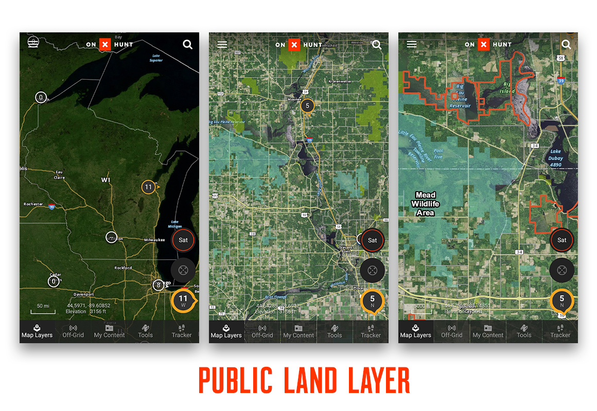 Comparing various zoom levels with onX Hunt's Public Land Layer using screenshots.