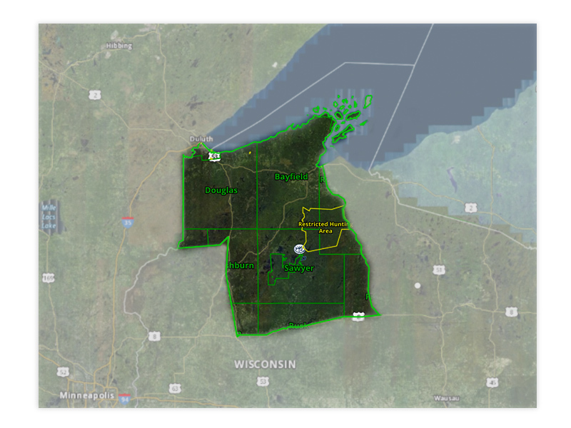 Map of Wisconsin turkey hunt zone 6