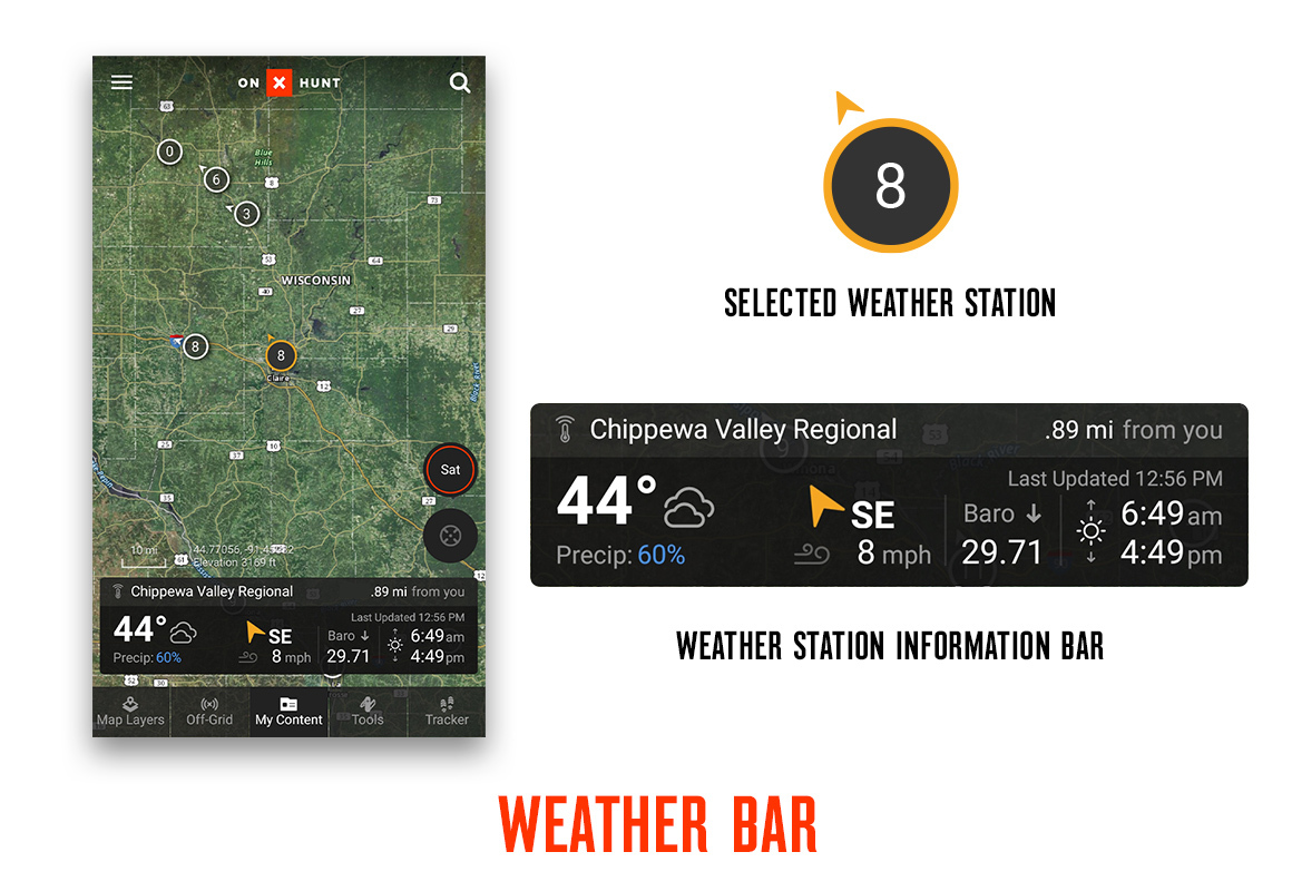onX Hunt App Wind & Weather feature weather bar screenshot.