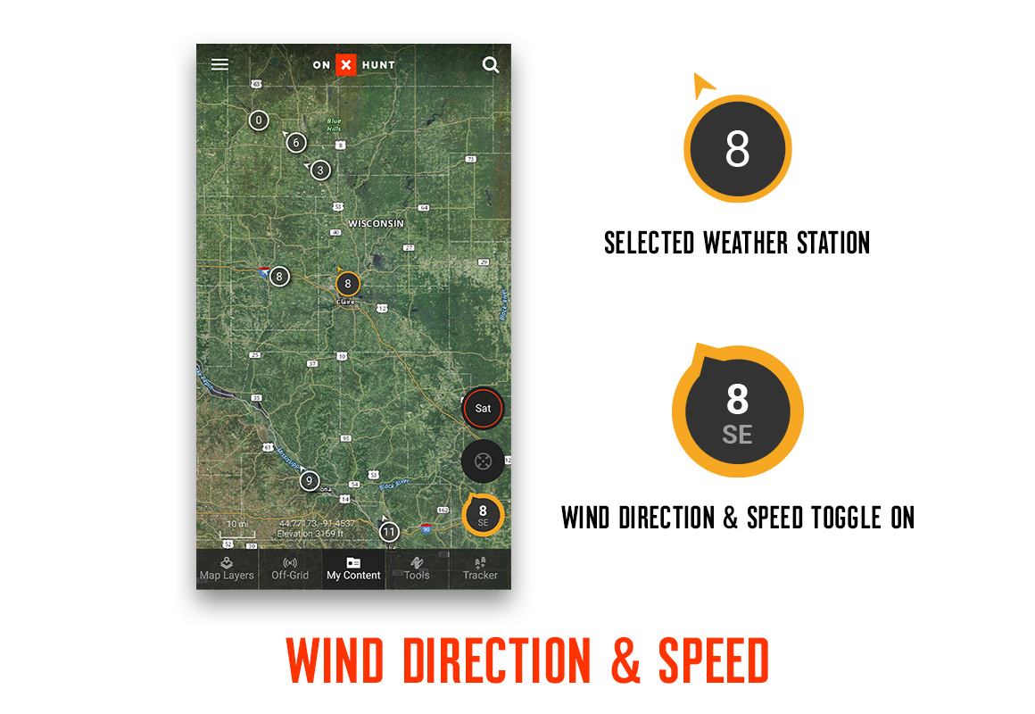onX Hunt App Wind & Weather feature weather & wind icon screenshot.